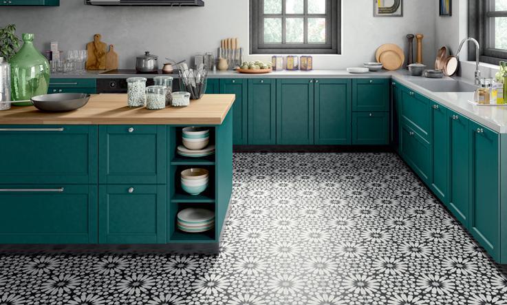 Pavimento cucina cementine