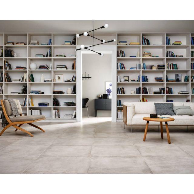 Wohnzimmer in Beton und Terracotta Optik Cotton 75x75