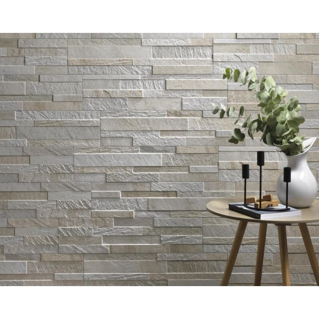 Rivestimento 3D Living Effetto Pietra 15x61 White