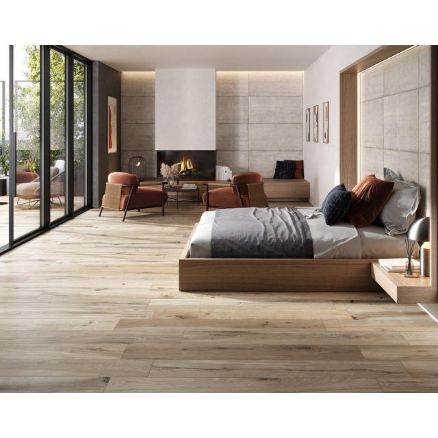 Wohnzimmer in Holzoptik 24x150 Ecru